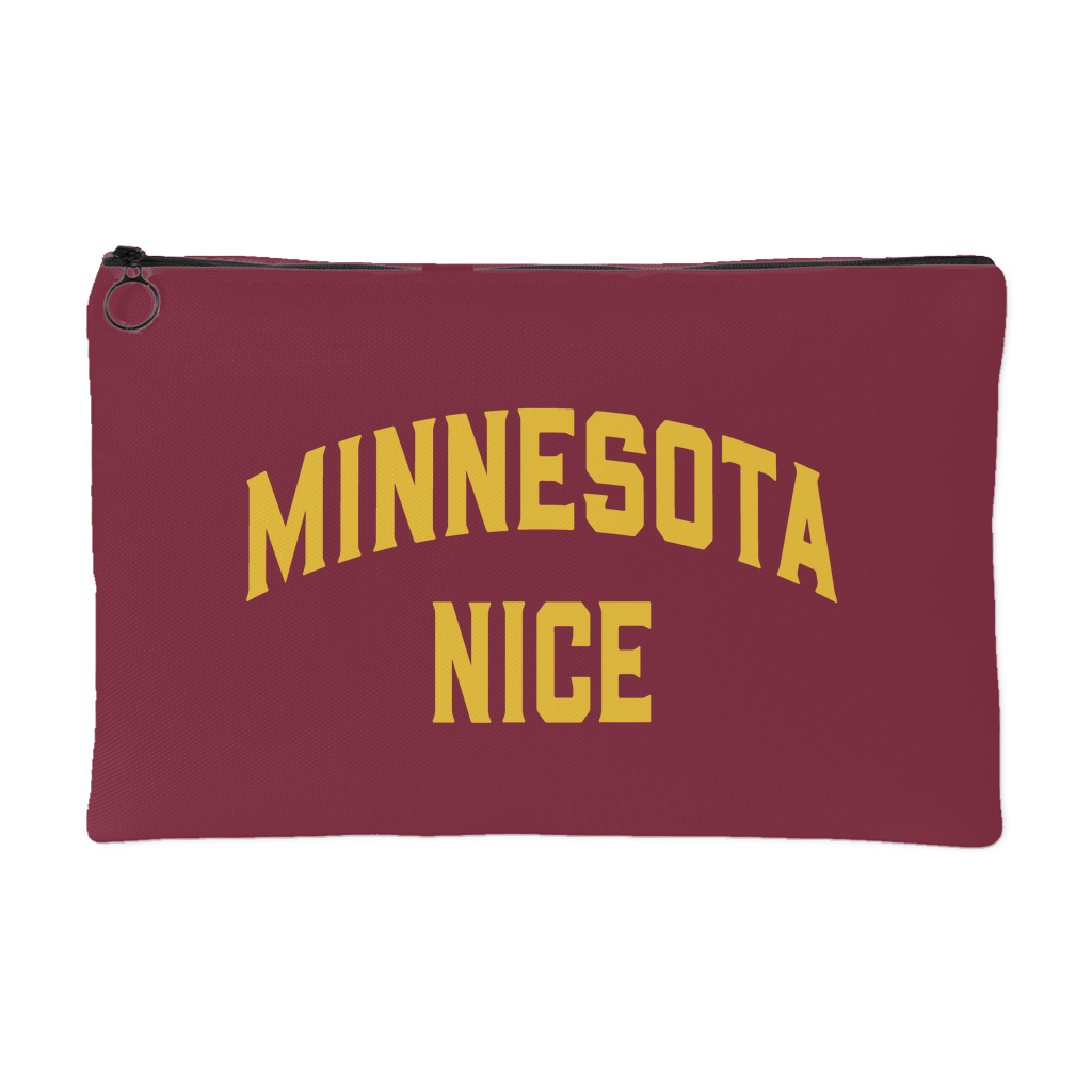 Minnesota Nice Block Accessory Pouch in Maroon and Gold Small