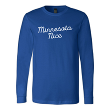 Minnesota Nice Script Men's Long Sleeve Tee with Rib Cuffs in Blue