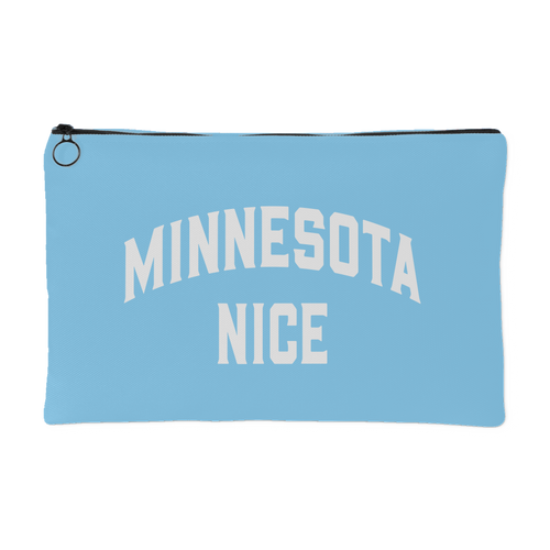 Minnesota Nice Block Accessory Pouch in Baby Blue and White Small