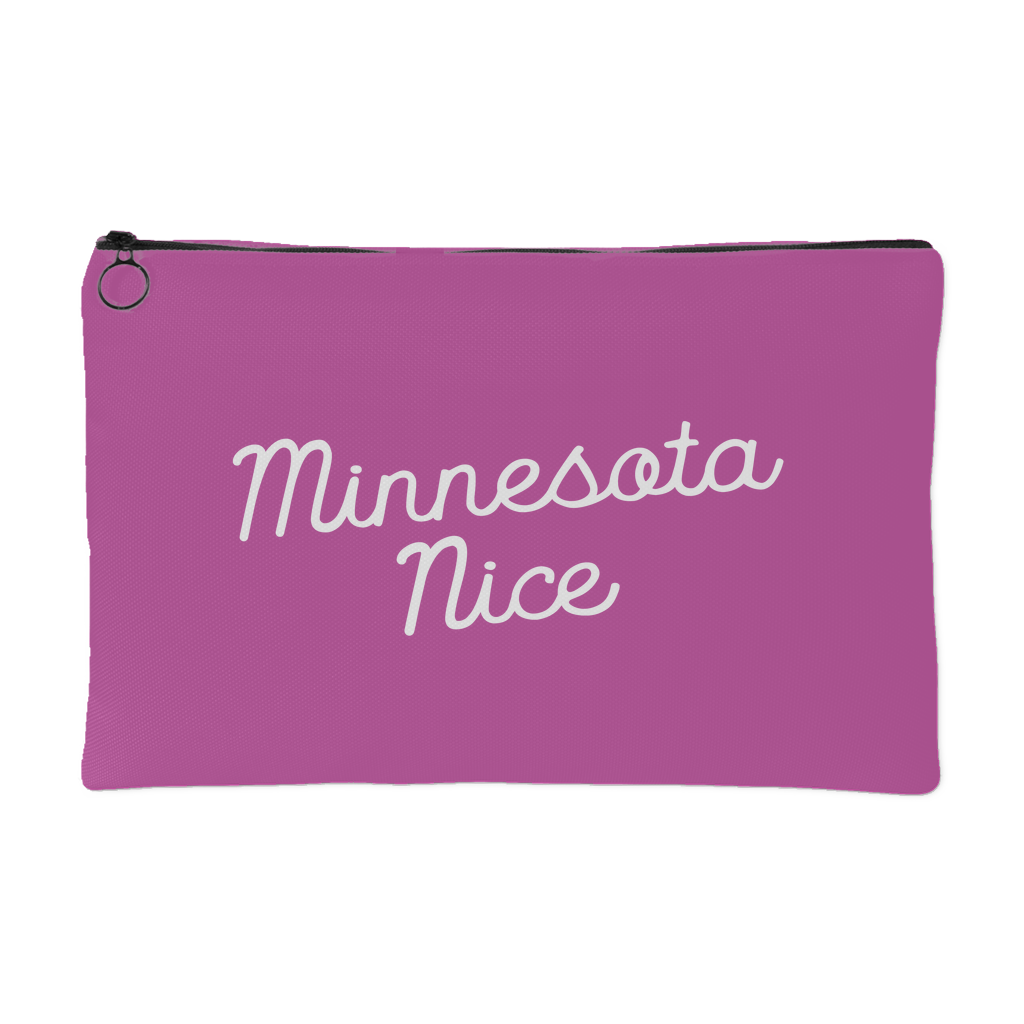 Minnesota Nice Script Accessory Pouch in Pink and White Small