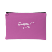 Minnesota Nice Script Accessory Pouch in Pink and White Large