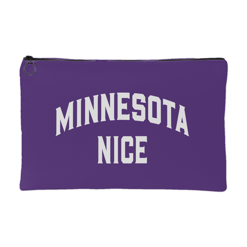 Minnesota Nice Block Accessory Pouch in Purple and White Small