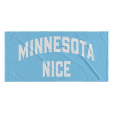 Minnesota Nice Block Towel in Baby Blue and White