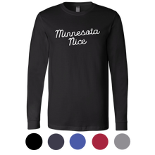 Minnesota Nice Script Men's Long Sleeve Tee with Rib Cuffs