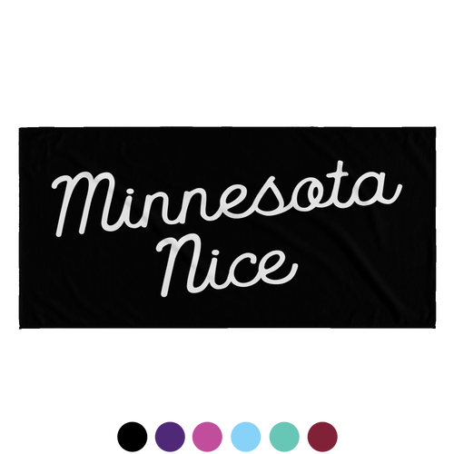 Minnesota Nice Script Beach Towel