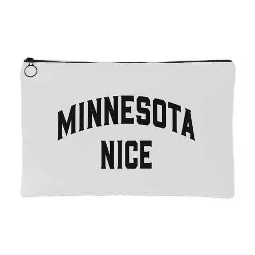 Minnesota Nice Block Accessory Pouch in White and Black Small