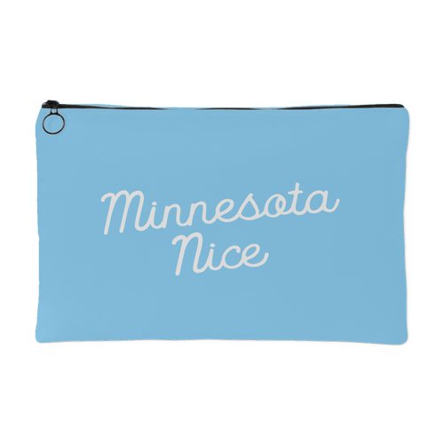 Minnesota Nice Script Accessory Pouch in Baby Blue and White Small