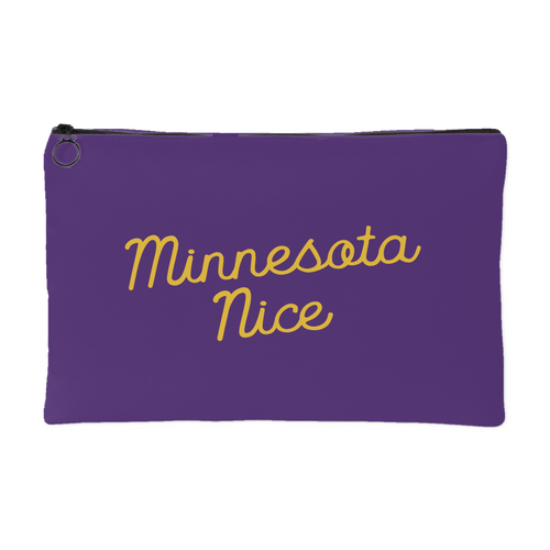 Minnesota Nice Script Accessory Pouch in Purple and Gold Small