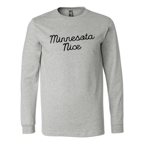 Minnesota Nice Script Men's Long Sleeve Tee with Rib Cuffs in Heather Grey