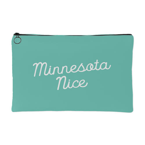 Minnesota Nice Script Accessory Pouch in Mint and White Small