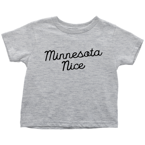 Minnesota Nice Script Toddler Tee in Heather Grey