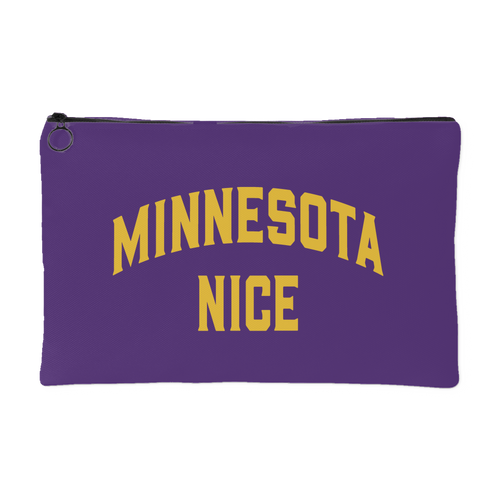 Minnesota Nice Block Accessory Pouch in Purple and Gold Small