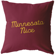 Minnesota Nice Script Pillow in Maroon and Gold