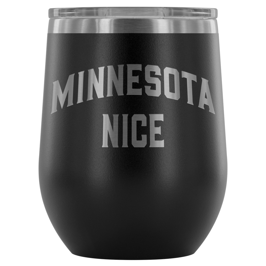 Minnesota Nice Block Wine Tumbler in Black
