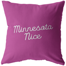 Minnesota Nice Script Pillow in Pink and White