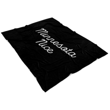 Minnesota Nice Script Fleece Blanket in Black and White View