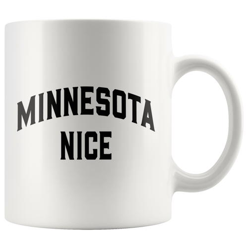 Minnesota Nice Block Mug in White