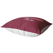 Minnesota Nice Script Pillow in Maroon and White Laying Down
