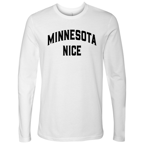 Minnesota Nice Block Men's Long Sleeve Tee in White