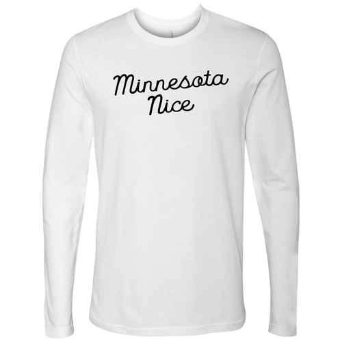 Minnesota Nice Script Men's Long Sleeve Tee in White