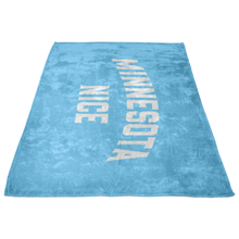 Minnesota Nice Block Fleece Blanket in Baby Blue and White Side View