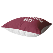 Minnesota Nice Block Pillow in Maroon and White Laying Down