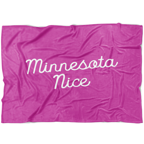 Minnesota Nice Script Fleece Blanket in Pink and White