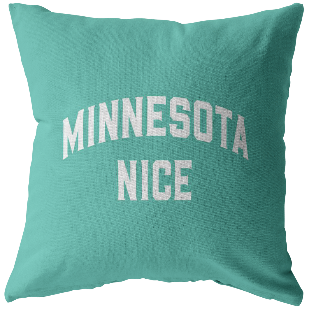 Minnesota Nice Block Pillow in Mint and White
