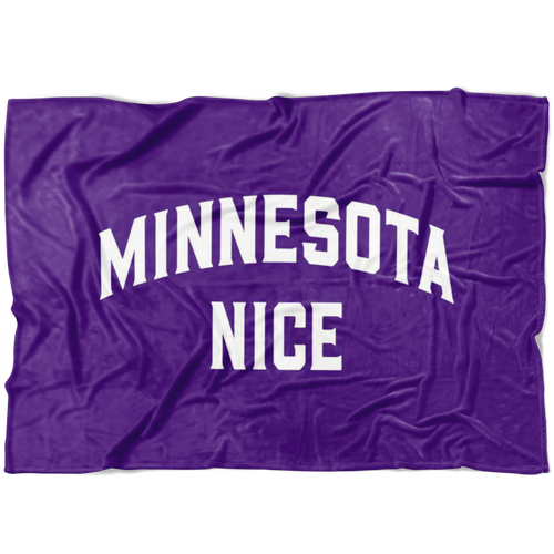 Minnesota Nice Block Fleece Blanket in Purple and White