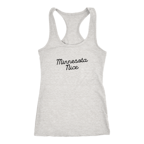 Minnesota Nice Script Women's Racerback Tank in Heather Grey