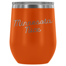 Minnesota Nice Script Wine Tumbler in Orange