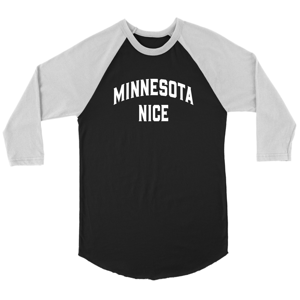 Minnesota Nice Block 3/4 Sleeve Baseball Shirt in Black and White