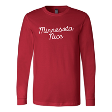 Minnesota Nice Script Men's Long Sleeve Tee with Rib Cuffs in Red