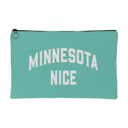 Minnesota Nice Block Accessory Pouch in Mint and White Small