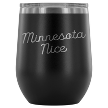 Minnesota Nice Script Wine Tumbler in Black