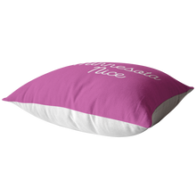 Minnesota Nice Script Pillow in Pink and White Laying Down