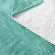 Minnesota Nice Scrip Fleece Blanket in Mint and White Up Close