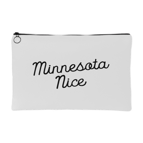 Minnesota Nice Script Accessory Pouch in White and Black Small