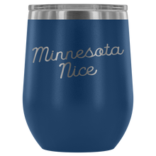 Minnesota Nice Script Wine Tumbler in Blue