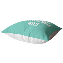 Minnesota Nice Block Pillow in Mint and White Laying Down