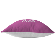 Minnesota Nice Script Pillow in Pink and White Bottom View