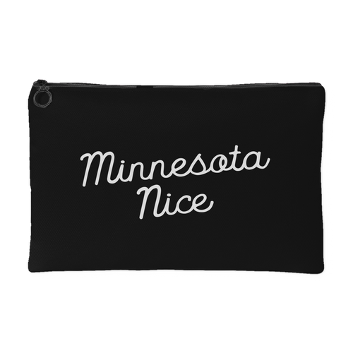 Minnesota Nice Script Accessory Pouch in Black and White Small