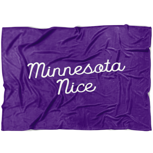 Minnesota Nice Script Fleece Blanket in Purple and White