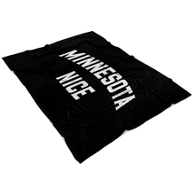 Minnesota Nice Block Fleece Blanket in Black and White View