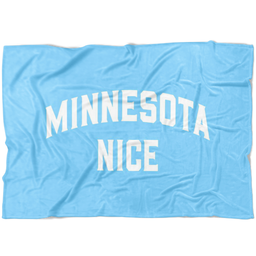 Minnesota Nice Block Fleece Blanket in Baby Blue and White