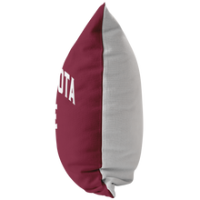Minnesota Nice Block Pillow in Maroon and White Side View