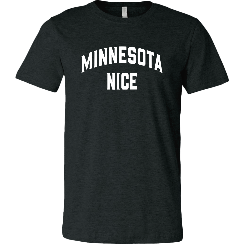 Minnesota Nice Block Men's Tee in Heather Black