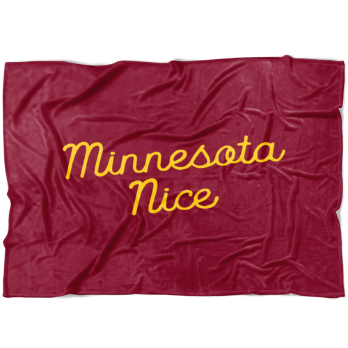 Minnesota Nice Script Fleece Blanket in Maroon and Gold