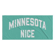 Minnesota Nice Block Towel in Mint and White