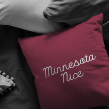 Minnesota Nice Script Pillow in Maroon and White in a Room
